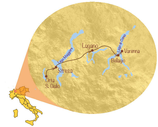 Map Of Italy Lakes Region.Italian Lakes Walking Holiday Explore The Alpine Lakes Of Northern